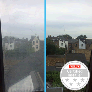 Before & after of VELUX pane replacement